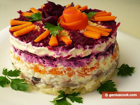 Insalata di aringa salata shuba antipasti contorni for Cucina russa