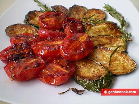 Frittura di pomodorini e zucchini al rosmarino