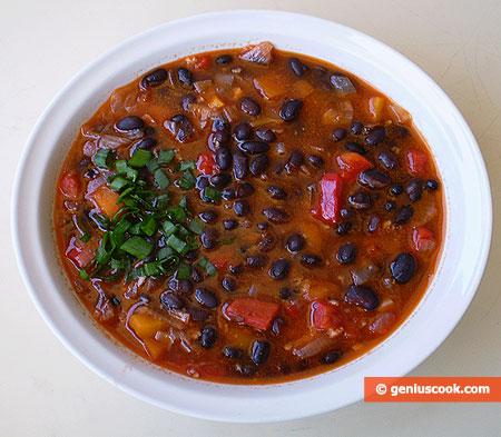 Zuppa, di fagioli neri, alla messicana
