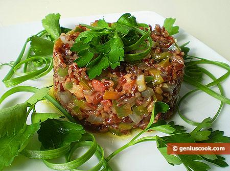 Riso integrale con peperoni e pancetta