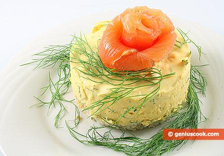 Tortina di formaggio e carote, con salmone affumicato