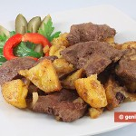 Fegato con patate e cipolle