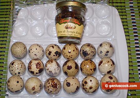 Ingredienti per la Frittata di uova di quaglia al tartufo nero