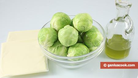 ingredienti per i cavoletti di Bruxelles al formaggio
