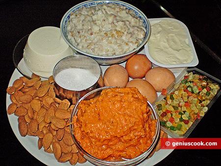 Ingredienti per la Pastiera con zucca e mandorle