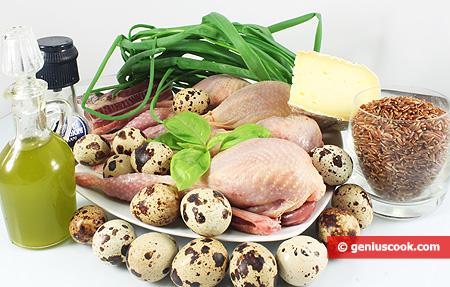ingredienti per le Quaglie ripiene, nel nido