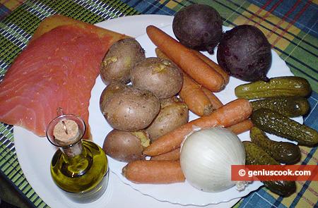 ingredienti per l'Insalata con salmone affumicato