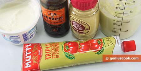 ingredienti per la Salsa rosa con senape e cognac