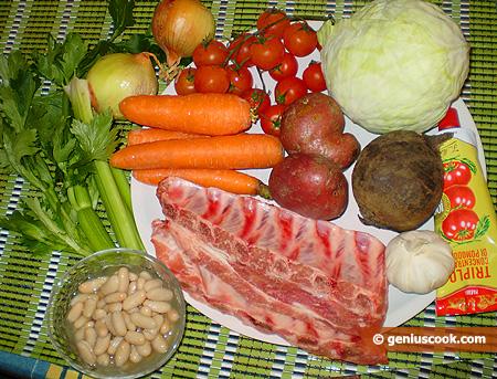 Ingredienti per il Borsch con fagioli e costine