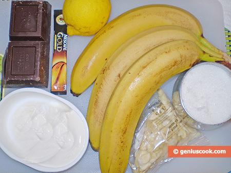 Ingredienti per le Banane al cioccolato e crema di caffè
