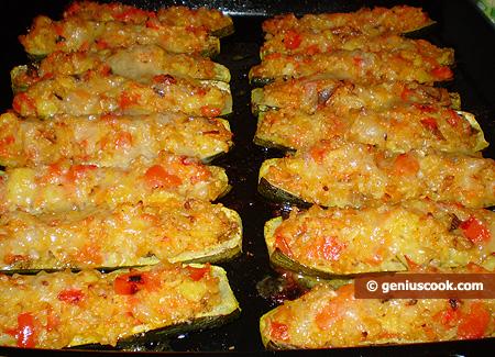 Zucchini ripieni con riso e funghi porcini