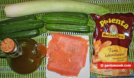 ingredienti per la  Polenta con salsa di salmone affumicato e zucchini