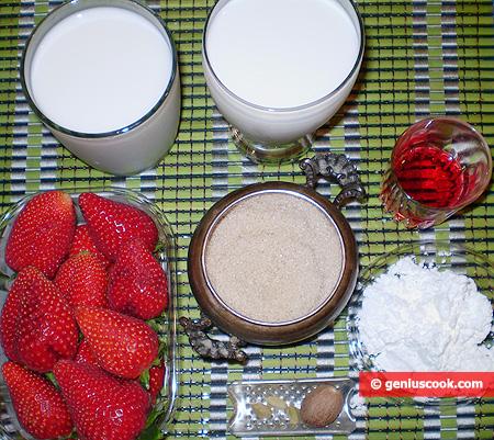 Ingredienti per il Budino di crema con fragole (Malabi)