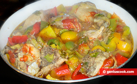 in cottura con peperoni