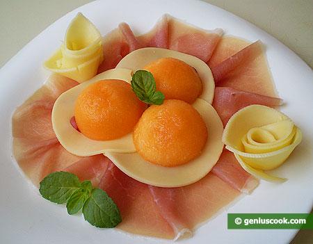 Antipasto di Prosciutto, formaggio e melone