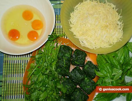 Ingredienti per la frittata di spinaci e formaggio
