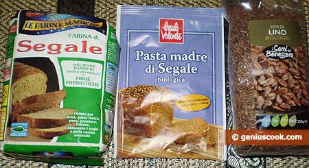 ingredienti per il pane di segale con semi di lino