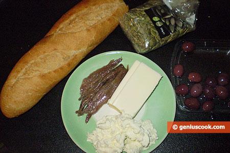 ingredienti per le Tartine con Ricotta e pasta di Acciughe salate
