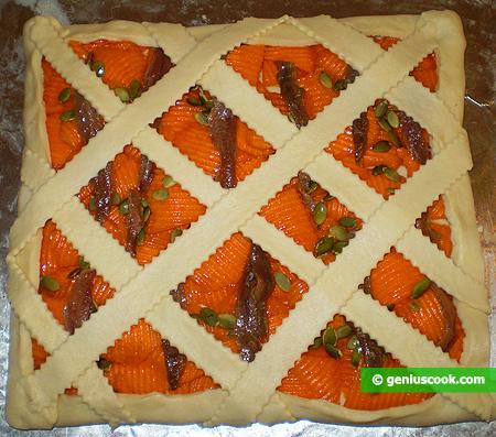 Crostata con  Zucca e Acciughe salate cruda