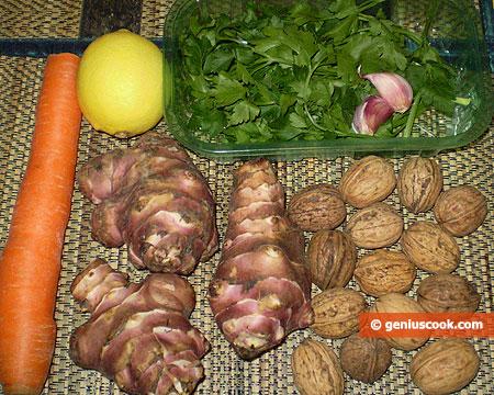 Ingredienti per l'insalata di topinambur con carote e noci