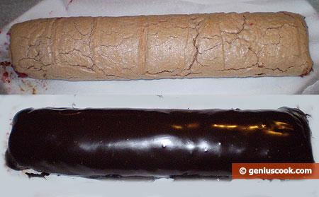 preparazione Meringa al cioccolato arrotolata