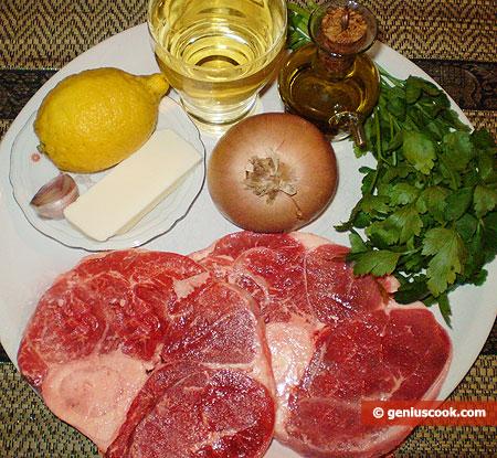 Ingredienti per l'ossobuco alla milanese