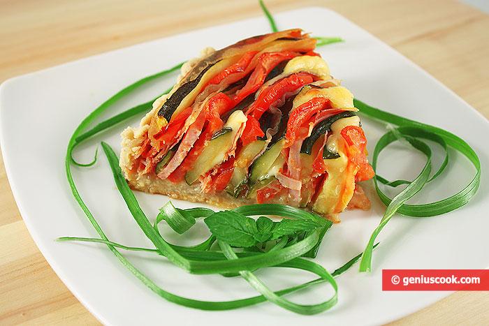 Trancio di Crostata Rustica con Zucchini Prosciutto Formaggio