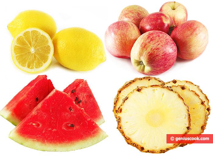 Limoni, Mele, Anguria, Ananas.