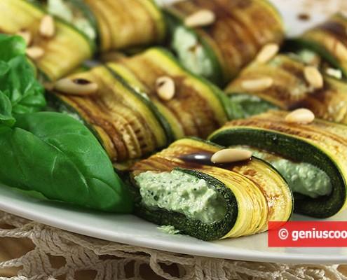 Zucchini arrotolati con Formaggio ed Erbe