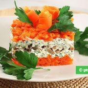 Insalata con pollo, funghi e carote.